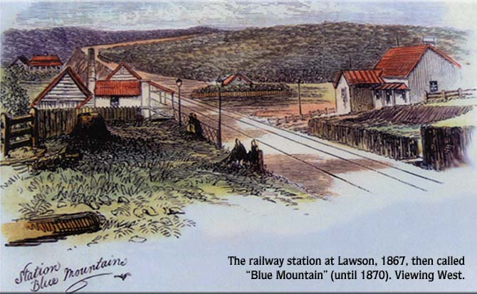 The railway station at Lawson, 1867, then called 'Blue Mountain' (until 1870). Viewing West.